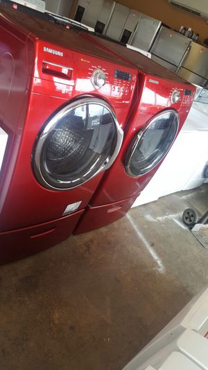 SAMSUNG RED WASHER DRYER SET STEAM PEDESTALS CLEAN WARRANTY RECENT MODEL DELIVERY for Sale in Chantilly, VA