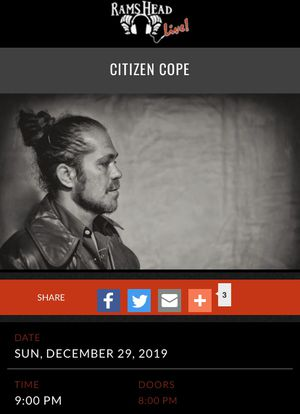 Citizen Cope at Rams Head Live for Sale in Baltimore, MD
