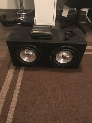"2 10"" MTX Subwoofers in sealed carpeted enclosure including 600.1 kicker amp for Sale in Atlanta, GA"
