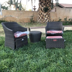 New 5pc Threshold Wicker Belvedere Patio Furniture Set Basket Chair Tuck In Ottoman and Storage Table for Sale in Riverside, CA