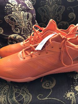 Mens Orange Adidas Baseball Metal Cleats Size 13.5 for Sale in San Diego,  CA