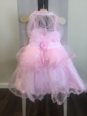 Flower Girl Dress - PINK Multiple Tier with Pink Flower and White Rhinestones (Multiple Sizes) for Sale in Kent, WA