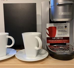 Mr Coffee Maker Single Cup Keurig + New Nespresso mugs for Sale in Snohomish, WA