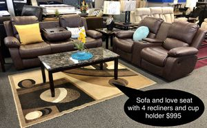 Brand new beautiful Sofa and love seat with 4 recliners and cup holder for Sale in Fresno, CA