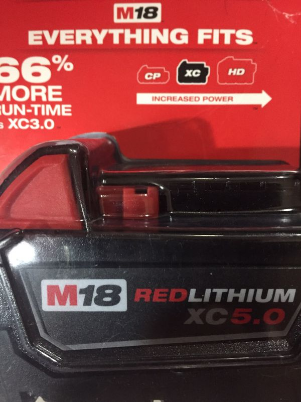 Two Milwaukee M18Red Lithium XC 5.0 Batteries Brand New!!