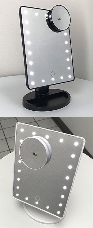 """New in box $15 each 11x6.5"""" LED Vanity Makeup Mirorr Touch Screen Dimming w/ 10x Magnifying (Black or White) for Sale in Whittier, CA"""