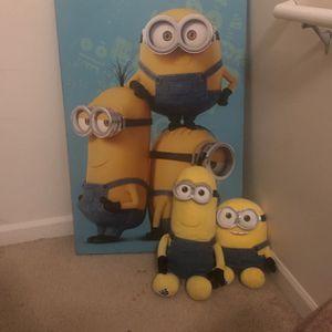 Minion Plushies + Portrait for Sale in Tacoma, WA