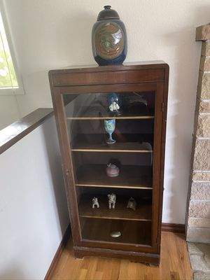 Antique Hardwood Curio Cabinet for Sale in Seattle, WA