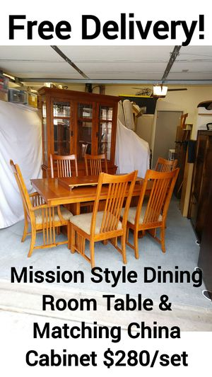 Mission Style 7 Piece Dining Room Kitchen Table Set & Matching China Cabinet w/ Free Delivery! for Sale in Peoria, AZ