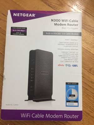 NETGEAR N300 wifi cable modem router for Sale in Baltimore, MD