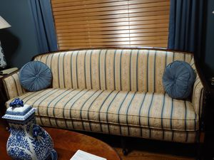 Ethan Allen Sofa with Cherry wood and pilliws included for Sale in Winston-Salem, NC