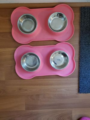 2 like new dog bowls with mats for Sale in Virginia Beach, VA