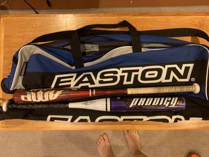 baseball bags and bats for kids for Sale in Boston, MA
