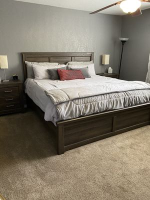 Eastern King sized bed frame with two bedside tables for Sale in Manteca, CA