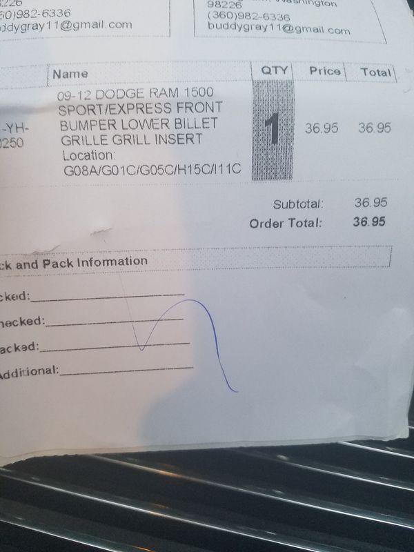 Billet grill for lower bumper of ram sport 1500