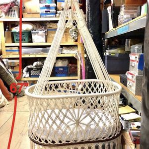 Macrame / Mahogany Wood Baby Bassinet, Dog Bed, Plant Holder for Sale in Los Angeles, CA