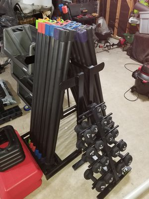 Weighted Bars + Rack(read info) for Sale in Cypress, TX