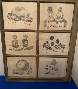 Casey Thompson Framed , Set of 6 numbered prints in 27x32 , Vintage Wood Window for Sale in San Antonio, TX