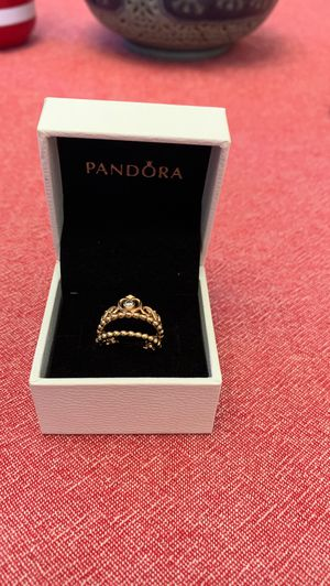Pandora princess gold rose ring 2 piece for Sale in Lakewood, CA