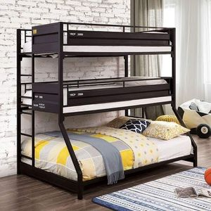 INDUSTRIAL STYLE CONTAINER GUN METAL FINISH TWIN OVER TWIN FULL SIZE TRIPLE BUNK BED / LITERA SENCILLA MATRIMONIAL for Sale in Riverside, CA