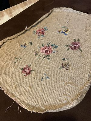 Antique floral needlepoint Roses and Pansies on a khachi/tan background. Formally a small slipper chair seat covering. Circa 1910-20 for Sale in Chicago, IL
