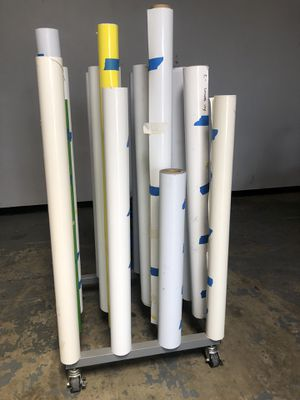 20 rolls of various vinyl and printing substrate with rolling cart for Sale in Riverside, CA