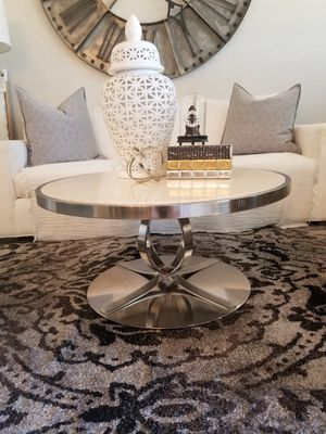 Custom Made Stainless Steel and Marble Coffee Table for Sale in Scottsdale, AZ