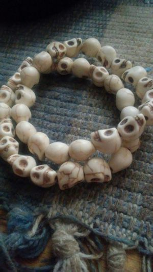 Skull bracelets made out of white turquoise howlite stone for Sale in Columbus, OH