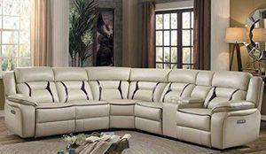6-Piece Power Reclining Sectional Sofa with Cup Holder Console Leather Gel Matched, Beige for Sale in San Diego, CA