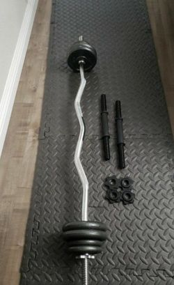 Standard EZ CURL Bar Chromed & CAP Barbell 40-Pound Cast IRON Dumbbell Set (Weights Set Has 34LB of Weight Plates) for Sale in La Puente,  CA