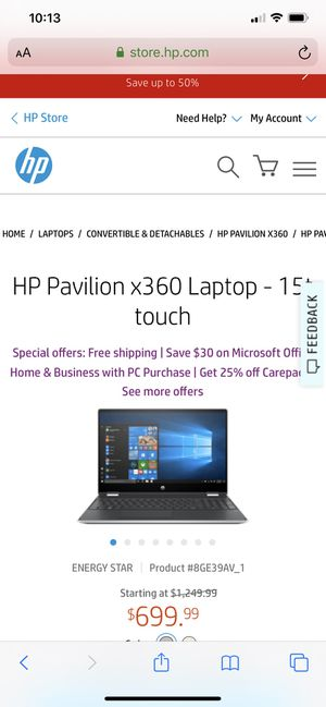 15in Hp pavilion *360 convertible laptop touch screen for Sale in Horseheads, NY