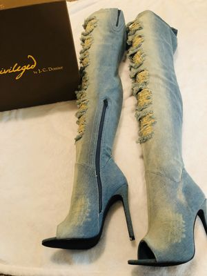 Privilege thigh high denim boots size 7 for Sale in Stockton, CA