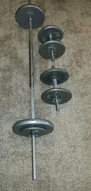 Weights 90lbs. 2x20lbs, 4x10lbs, 2x5lbs. 5 foot straight barbell and 2 chrome dumbbells. 6 weight locks. for Sale in Deerfield Beach, FL