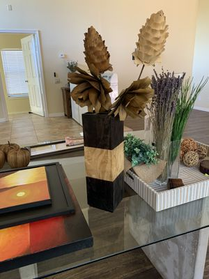 Wood vase with flower for Sale in Irving, TX