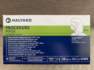 Surgical virus mask Halyard Health 47090 Halyard Procedure Mask, White (Pack of 50) for Sale in Hayward, CA