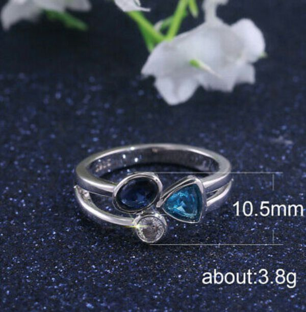 925 Silver Wedding Rings Women Aquamarine & Sapphire Ring Size 6-10
