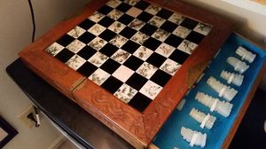 Antique chess board with handcarved pieces for Sale in Crofton, MD