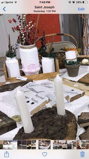 Three candle centerpiece pieces, #1 Rustic wood front of picture tall candles $15 more too see 2 for $22 and 3 for $30, #2 Lest back Rustic three jar for Sale in Saint Joseph, MO