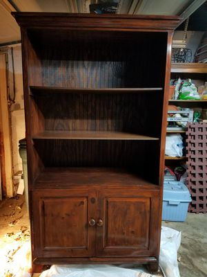 Brown wooden armoire with shelves for Sale in Worcester, MA