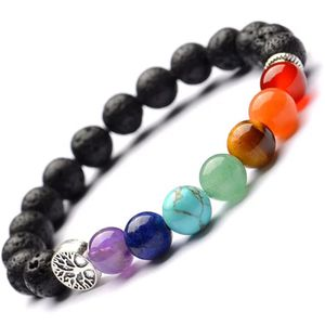 7 Chakra Meditation Bracelets 8mm with natural Lava stones and Tree of life for Sale in Chicago, IL