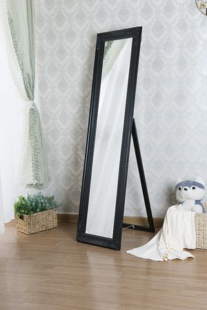 NEW, Wooden Standing Mirror with Decorative Design, Black, SKU# 7057-Black for Sale in Garden Grove, CA