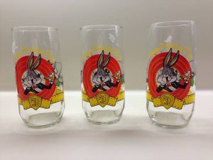 Set of three Bugs Bunny Happy 50th Birthday Collectible Glasses for Sale in Westville, NJ
