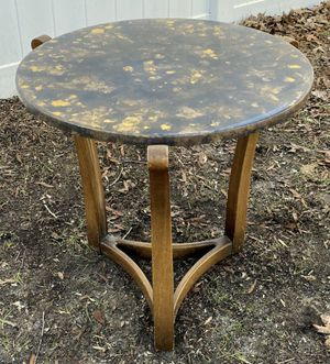 Vintage Mid Century Modern MCM Wood Round Side Lamp End Tripod Trident Pedestal Circular Table for Sale in Chapel Hill, NC