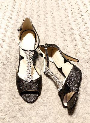 """New! Adrienne Vittadini """"Gina"""" heels paid $125 Size 8 Glittery black sandals with multiple round clear cut rhinestones embellishing the T-straps. Adj for Sale in Washington, DC"""