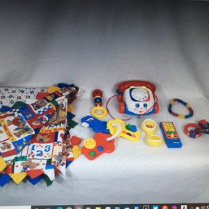 Lot Of 7 Baby & Toddler Toys and 3 1/2 ft x 3 ft Colorful Teddy Bear Blanket for Sale in Layton, UT