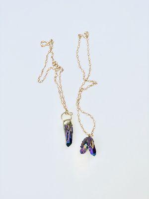 Brand New Custom Titanium rainbow quartz crystal necklace for Sale, used for sale  Atlanta, GA