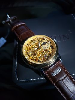 Men's Luxury Watch Automatic Movement Gold Dial Skelton Brown Leather Strap ⌚ for Sale in Fontana,  CA