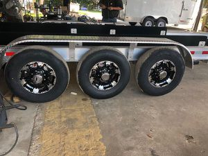 "Trailer Tires - 16"" 8 lug aluminum rims - center cap and lugs - 235/80/16 10 ply new Trailer -We carry all trailer tires, trailer parts, trailer axles for Sale in Plant City, FL"