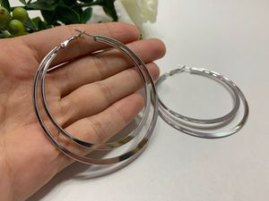 Exaggerated Large Smooth Circle Double Hoop Earring, Silver Color for Sale in Los Angeles, CA