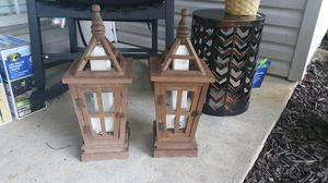 Wood and glass lantern with LED Candle for Sale in Bauxite, AR